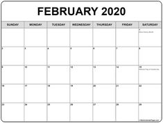 February 2020 Calendar: We are sharing Printable February Calendar 2020 Template in PDF, Word, Excel, JPG, PNG. Get 2020 February calendar with Holidays.