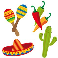 Divertidos troquelados para decorar tu fiesta mexicana o tu fiesta 5 de mayo, de www.fiestafacil.com - $2.45 para 4 / Fun cutouts to decorate your 5 de Mayo party or your mexican party, from www.fiestafacil.com