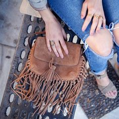 Boho chic.  #fringe #boho #chic #bohochic #accessories #bag #brown #hippie #inspiration #outfit #denim #ideas #fashion #blogger #trends