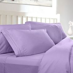 Clara Clark Supreme Sheet Set Color: Lavender, Size: Twin