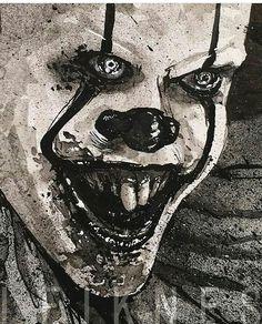 """Pennywise Art by @leiknesoils #art #artwork #dark #darkart #it #clown #pennywise #pennywisetheclown…"""