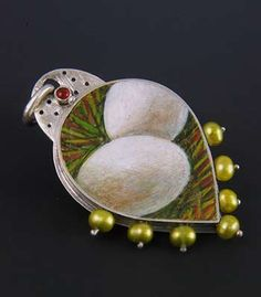"""Artist: Sarah J.G. Wauzynski Two Egg Nest Pendant Item ID: SJW415 Necklace in sterling silver, egg tempera on gesso, carnelian, pearls and 21"""" long sterling silver chain. Pendant measures 2 x 1 1/4"""" Price: $ 387.00"""