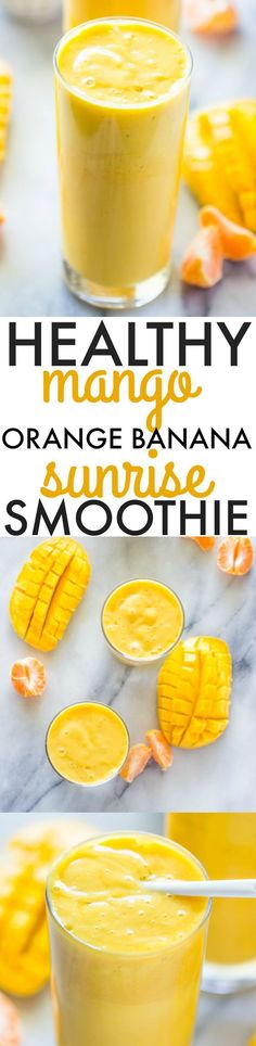 Healthy Smoothie Recipes - Healthy Mango Orange Banana Sunrise Smoothie - Easy ideas perfect for breakfast energy. Low calorie and high protein recipes for weightloss and to lose weight. Simple homemade recipe ideas that kids love. Yummy Smoothies, Breakfast Smoothies, Smoothie Drinks, Yummy Drinks, Healthy Drinks, Yummy Food, Breakfast Energy, Homemade Smoothies, Breakfast Healthy