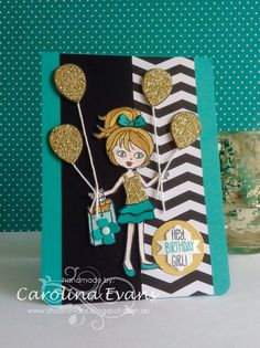 Hey Girl for Just Add Ink Challenge #265 using Bermuda Bay, Black & Gold, all Stampin' Up! products 2015 Carolina Evans #stampinup