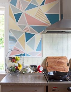 Paint idea. Pastels geometric walls. Kitchen.                              …