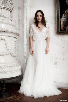 daalarna bridal 2014 flutter sleeve lace wedding dress #wedding #dress #bride