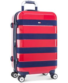 Tommy Hilfiger Rugby Stripe 25 Inch Hardside CarryOn Luggage Red ** Details can be found by clicking on the image. Best Carry On Luggage, Carry On Suitcase, Tommy Hilfiger, Day Backpacks, Hardside Spinner Luggage, Spinner Suitcase, Luggage Store, Wholesale Bags, Travel Bags