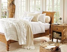 Bedroom: Wonderful Bedrooms in Christmas Decorating Themes, Natural White Christmas Bedroom Interior Decorating Idea with Traditional Wood Sleigh Bed and White Bedding and Bedside Table also Shag Area Rug and Lovely Sunlight from The Glass Windows