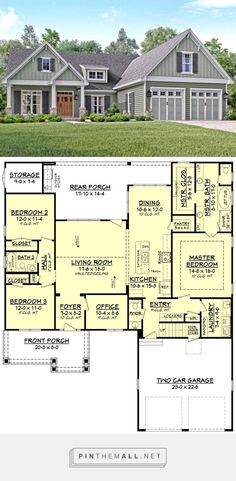 Craftsman Style House Plan - 3 Beds 2.5 Baths 2004 Sq/Ft Plan #430-140 - created via https://pinthemall.net