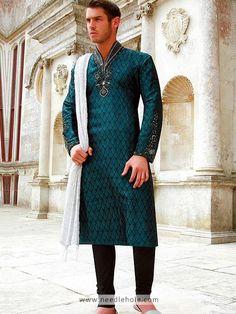 Luxurious Jamawar Kurta for Men, Embroidered Collar, Neck and Sleeves, Bondi Blue Pakistani Kurta, Salwar Kurta, Pakistani Bridal Wear, Indian Bridal, Mens Indian Wear, Indian Men Fashion, Mens Fashion, Indian Male, Fashion Tips