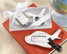 """Bon Voyage"" Silver-Finish Airplane Luggage Tag"