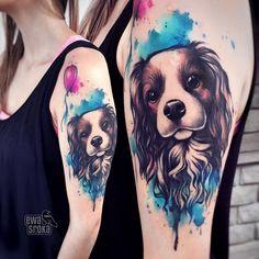 Tatoo Dog, Cat And Dog Tattoo, Dog Tattoos, Body Art Tattoos, Tiny Tattoo, Pixie Tattoo, Portrait Tattoo Sleeve, Sleeve Tattoos, Portrait Tattoos
