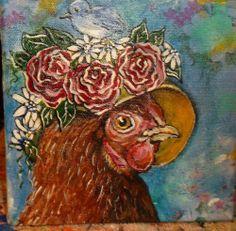 ORIGINAL MIXED MEDIA ACRYLIC PAINTING ON CANVAS ART CHICKEN ROSE HEN BIRD GINA