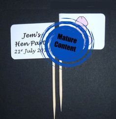 12 x Personalised Hen Party / Do Willy Penis Cupcake Topper Flags / Picks - Bachelorette