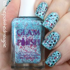 Double stamping with Glam Polish She Had A Lipstick Taser #blue #nailart #nailstamping