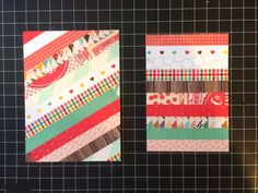 handcrafted quilt cards from my happy life ... coordinating paper scraps ... strip quilt stripes ... like them!