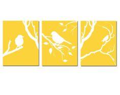 Modern Bird Nursery Art Trio Set of Three 8x10 Prints by Tessyla
