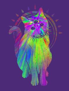 Psychedelic kitty by biotwist on deviantART