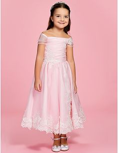 7c84b706ca A-Line   Princess Ankle Length Flower Girl Dress - Organza Short Sleeve Off  Shoulder   Bateau Neck with Appliques   Bow(s)   Ruched by LAN TING BRIDE®  ...