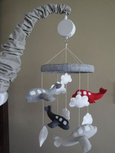 Baby Crib Mobile- Airplane Baby Mobile- Grey and Red Airplane Mobile (Pick Your Colors) - Sallie Montgomery Airplane Mobile, Airplane Nursery, Baby Boy Rooms, Baby Boy Nurseries, Baby Boy Names Strong, Names Baby, Baby Crib Mobile, Baby Wraps, Baby Room Decor