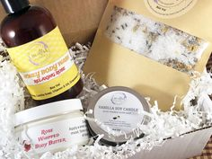 Candle Gift Box Spa Set Mothers Day Beauty Box 4 Ounce Soy Candle Whipped Body Butter Bath Soak Body Wash Magnesium Bath Just Because Gift by EssentialBeautanics on Etsy