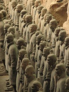 The famous ceramic army of the emperor Qin Shi Huang makes a masterful use of a naturalism (each figure is an individual and soldiers clearly show a variety of nationalities and clothing types) that almost certainly was inspired by contact with the West and the Greco-Roman world: