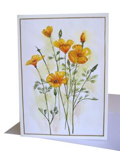 Yellow Poppies Card #poppies #flowers #californiapoppies #yellow #greetingcard #handpainted #myartwork #floralillustration