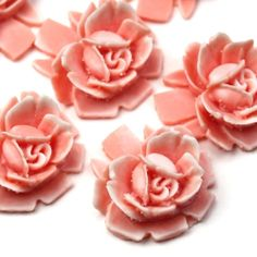 Vintage Style Resin Rose Cabochons 18mm Peach and by mksupplies, $3.50