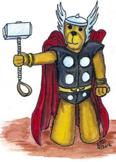 Avengers Inspired Cuddly Thor Trading Card by altworld on Etsy, $2.00