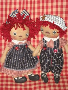 Primitive Raggedy Americana Ann and Andy