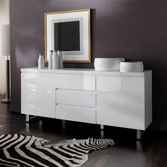 Sydney 2 door large sideboard in high gloss white with 3 drawer - 19632 dining room sideboard, modern & contemporary. In wood oak, grey, white high gloss with led. Solid Wood Sideboard, Dining Room Sideboard, Small Sideboard, Modern Sideboard, Sideboard Cabinet, Contemporary Living Room Furniture, Bedroom Furniture, Staircase Lighting Ideas, Sideboards For Sale