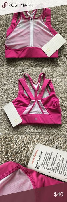 Ready set sweat bra! Lululemon nwt Super cute magenta or pink bra! Lululemon size 4! lululemon athletica Tops