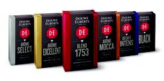 Douwe Egberts relauncht verpakkingen. This is a rather unusual shape for coffee packaging IMPDO.