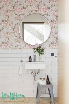 Garden Rose and Daisy Flower Wallpaper Removable by WallfloraShop