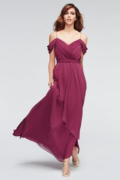 Size 10 Marsala- Watters 1504 is the Linden style floor length crinkle chiffon bridesmaid dress with draped off the shoulder neckline and spaghetti straps.