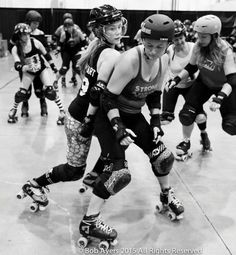 "When we learn to skate in roller derby we are often told ""get low."" While this creates a very stable skating base, it is not a reactive or strong position."