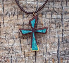 Handmade Wood Cross Pendant with Crushed by DonBurdaDesign on Etsy, $65.00  https://www.etsy.com/listing/168329729/handmade-wood-cross-pendant-with-crushed?