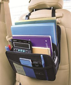 Use one of my billiions of bags to make something similar to this that STAYS in the car for office supplies, lables, route lists, etc.