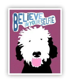 Believe in Your Selfie, Portuguese Water Dog, Dog Poster, Inspirational Art, Girls Bedroom Décor, 11 x 14 Poster. Dog Art ,Hippie Style! Featuring a sweet and funny Portuguese Water Dog and the words Believe in Your Selfie. So much fun as wall décor in a girls or teens bedroom. Your poster will be packaged in a sealed cello sleeve with backboard and shipped flat in a heavy cardboard mailing envelope. Keep in mind that the colors you see on your screen may not be an exact match to your...