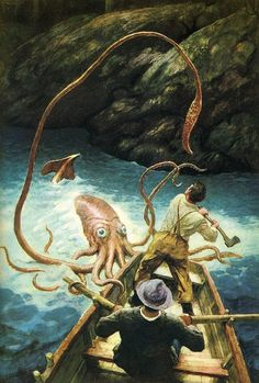 """Adventure with a Giant Squid. Illustration by N. Wyeth from """"Anthology of Children's Literature"""" Jamie Wyeth, Andrew Wyeth, Frederic Remington, Kraken, Illustrations, Illustration Art, Nc Wyeth, Giant Squid, Kids Story Books"""