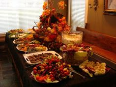 Loaded private Buffet with Labels when using table; raise the food in the back for easier reach