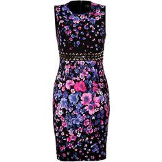 VERSACE Black-Multi Mini Flower Print Dress (88.670 RUB) ❤ liked on Polyvore featuring dresses, vestidos, short dresses, versace, sleeveless dress, floral-print dresses, metallic dress and sleeveless sheath dress