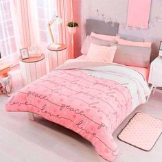 Shop Vianney Home Decor for all the best Pink Bedding Sets. The Peace and love comforter gives stability to your room, adds color and texture, combine it with peace or heart shape elements. Teenage Girl Bedrooms, Pink Bedrooms, Girls Bedroom, Bedroom Decor, Bedroom Ideas, All White Room, White Rooms, Bedroom Photos, Girl Bedroom Designs