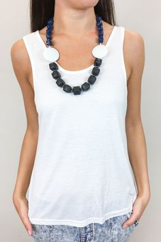 This chunky beaded necklace with Navy and White Chunky beads is the statement piece you need this summer.