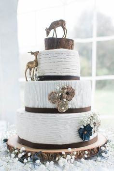Rustic Wedding Cake...cake is beautiful but not what I'm looking for but I LOVE the deer...