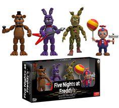Pack 4 minifiguras 5 cm Five Nights at Freddy's. Set 2. Funko  Estupendo pack formado por 4 minifiguras articuladas de 5 cm de personajes vistos en el exitoso videojuego de terror titulado Five Nights at Freddy's, fabricadas en vinilo y 100% oficiales y licenciadas por la compañía Funko.