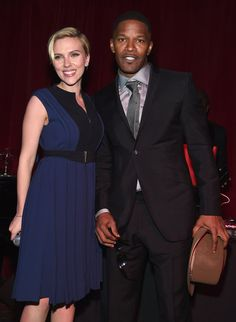 Pin for Later: Can't-Miss Celebrity Pics!  Scarlett Johansson and Jamie Foxx spoke on stage during the Friends of Rockaway second annual Hurricane Sandy fundraiser in NYC on Tuesday.