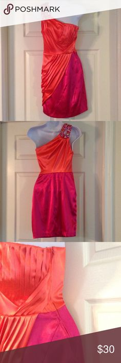 Formal Dress Orange and pink dress, gem and beaded one shoulder accent strap. No runs, stains or missing beading. Size 3/4 B. Darlin Dresses One Shoulder