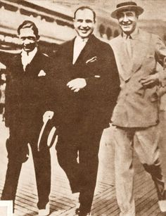 Al Capone and Nucky Johnson taking a stroll on the Atlantic City Boardwalk, 1929