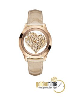 Rose Gold-Tone Crystal Heart Watch at Guess Trendy Watches, Rose Gold Watches, Michael Kors Watch, Bracelet Watch, Jewelry Watches, Fashion Accessories, Women Jewelry, Jewels, Guess Watches